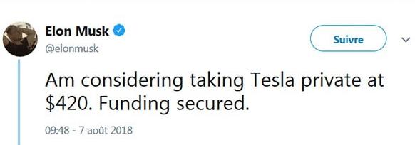 Tesla private tweet Musk