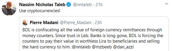 Nassim Nicholas Taleb tweet crypto
