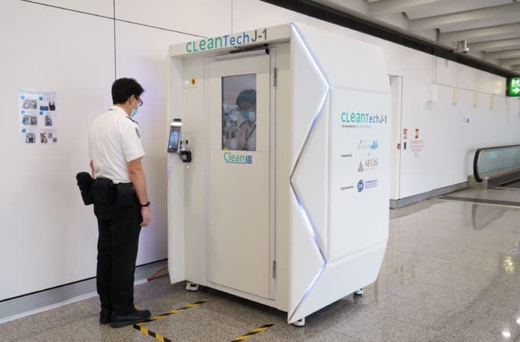 Prototype de cabine de désinfection pour aéroport